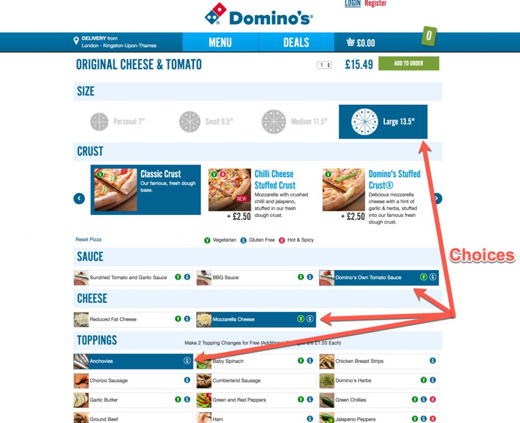 Dominos choices